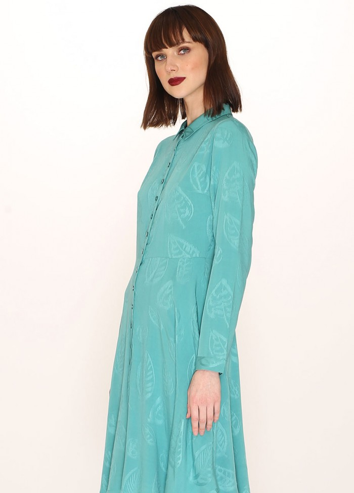 LEAVES JAQUARD DRESS GREEN