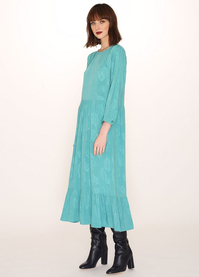 LEVES JAQUARD LONG DRESS GREEN