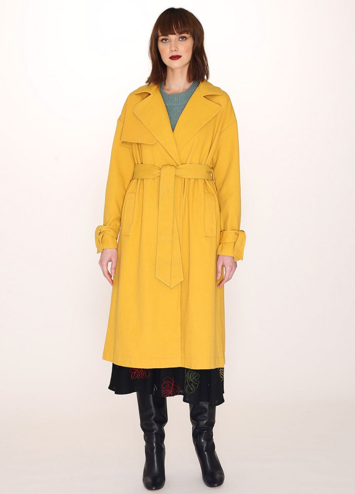 COTTON TRENCH COAT MUSTARD