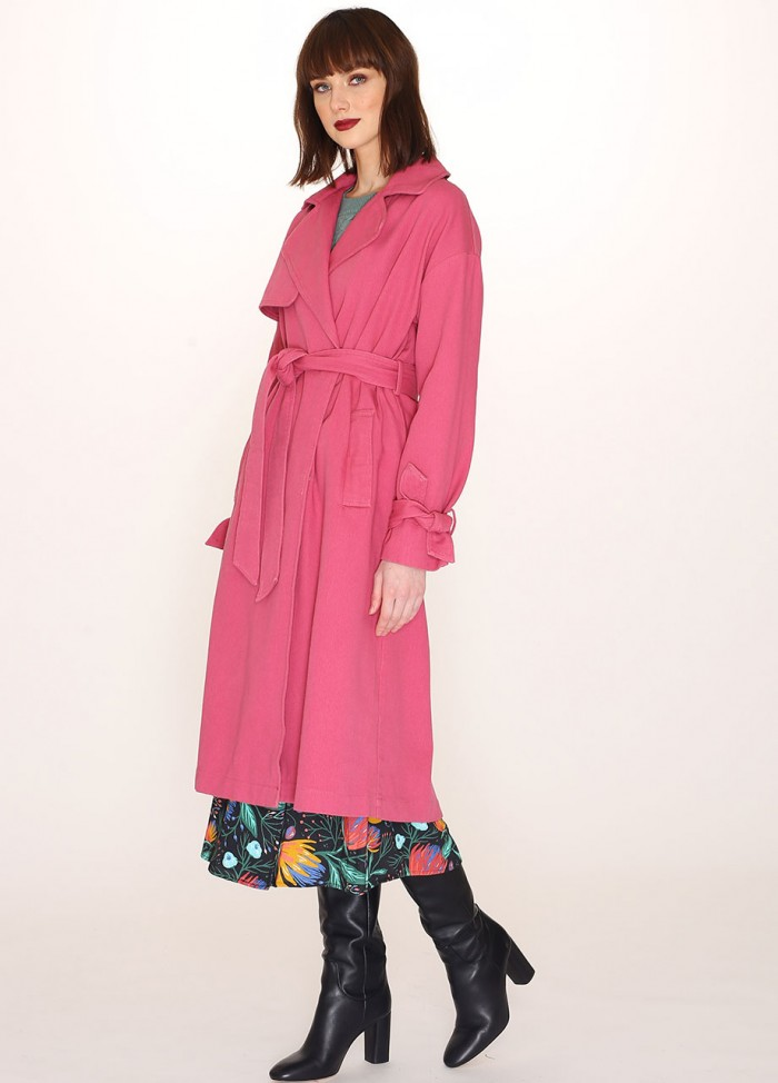COTTON TRENCH COAT RED