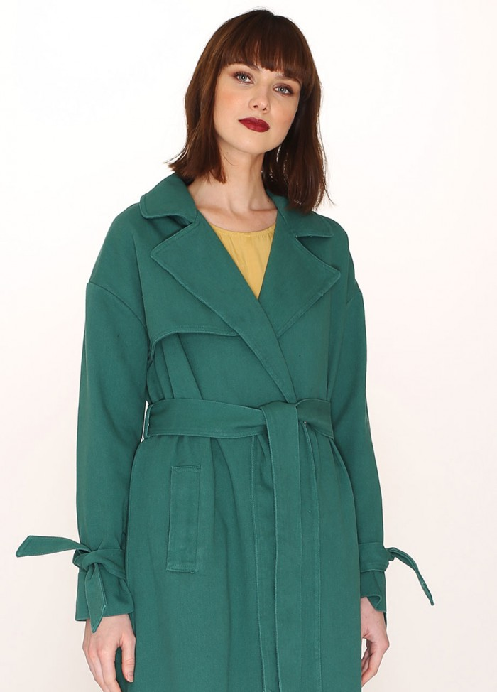 COTTON TRENCH COAT GREEN