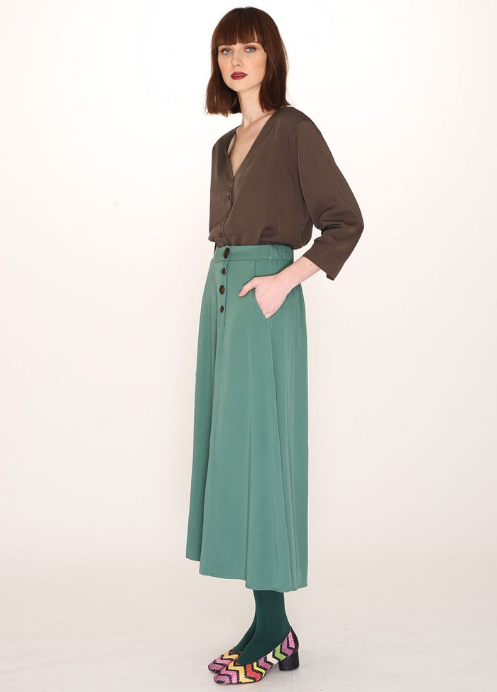 TENCEL CULOTE TROUSER GREEN