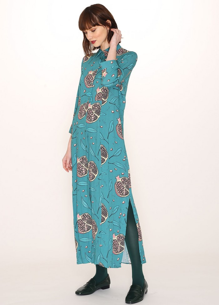 POMEGRANATE PRINT LONG DRESS
