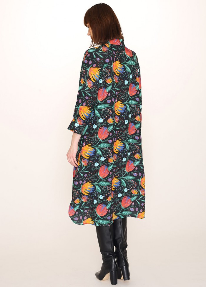 FLOWERS PRINT BUTTONED DRESS
