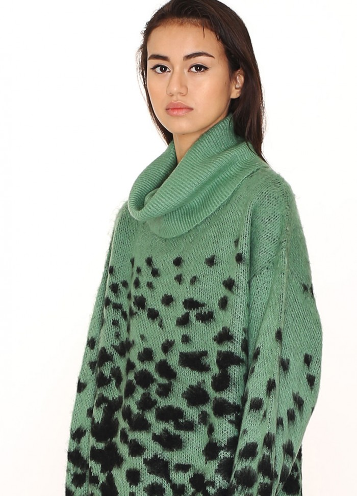 LEOPARD SWEATER GREEN