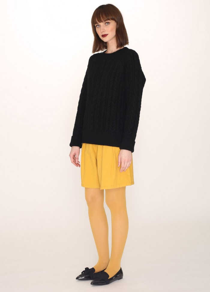 CABLES WARM SWEATER BLACK