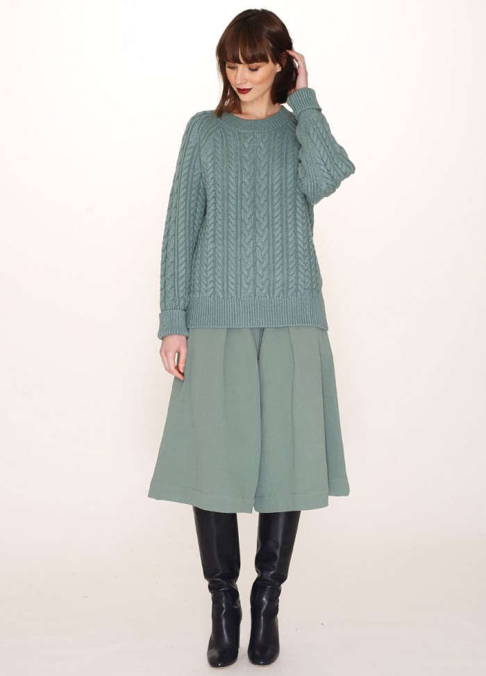 CABLES WARM SWEATER GREEN