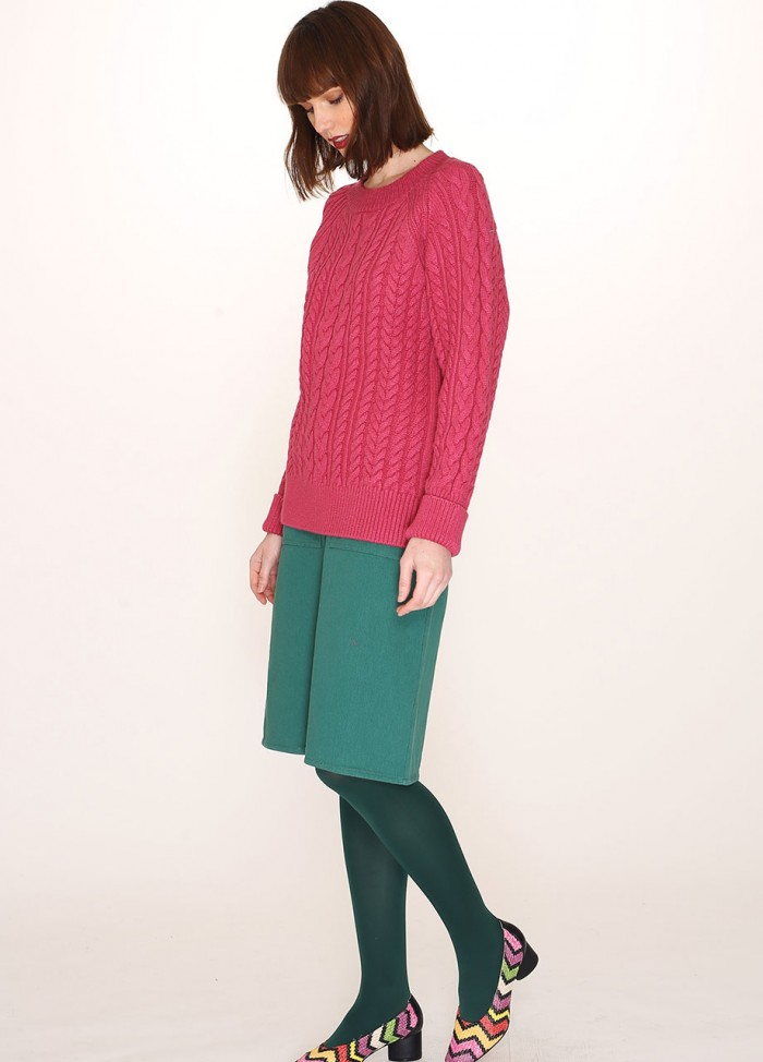 CABLES WARM SWEATER PINK
