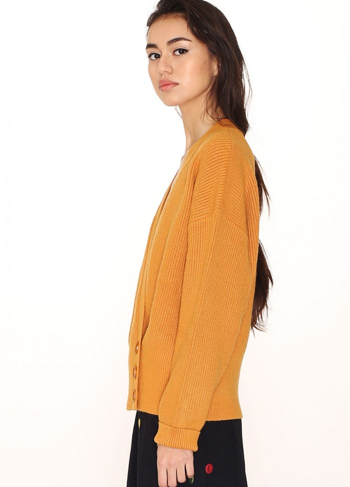 WRAPPED SWEATER MUSTARD