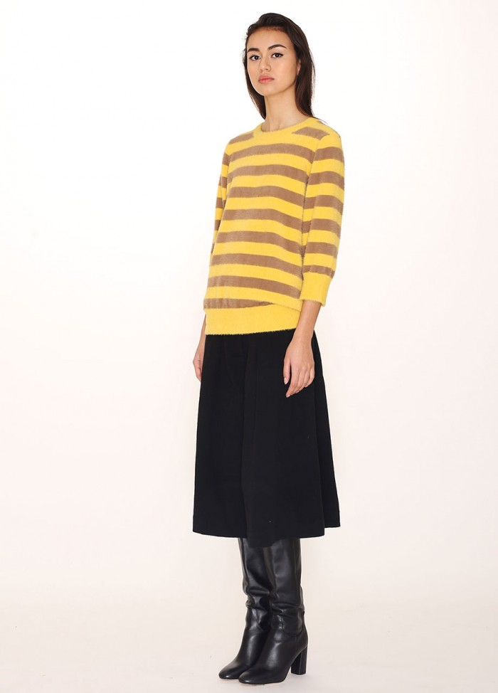 BROWN YELLOW STRIPES SWEATER