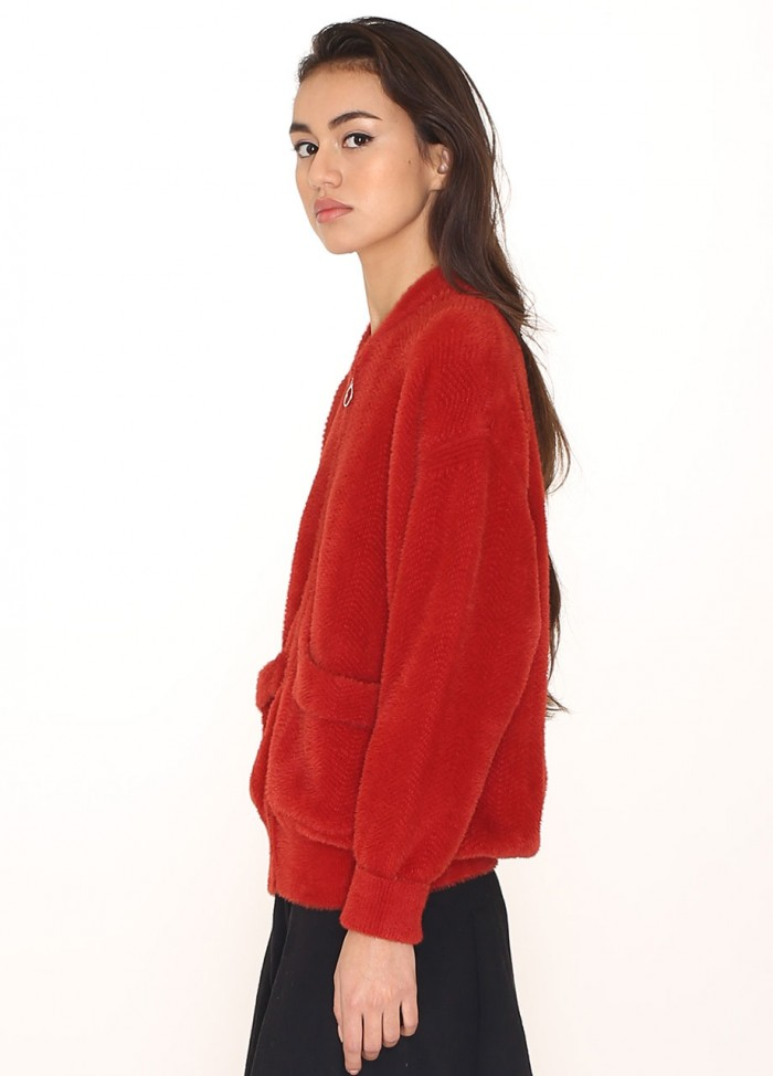 ZIP TRICOT JACKET RED