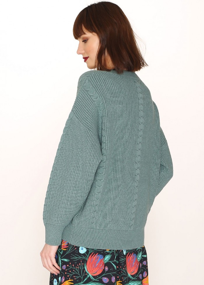 CABLES SWEATER GREEN