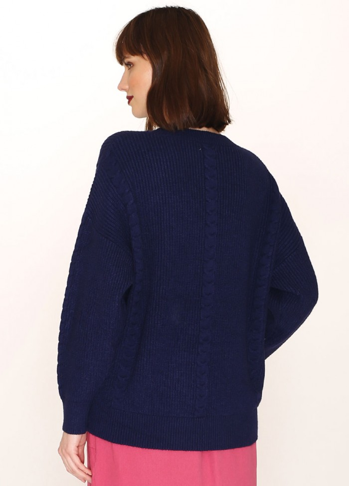 CABLES SWEATER BLUE
