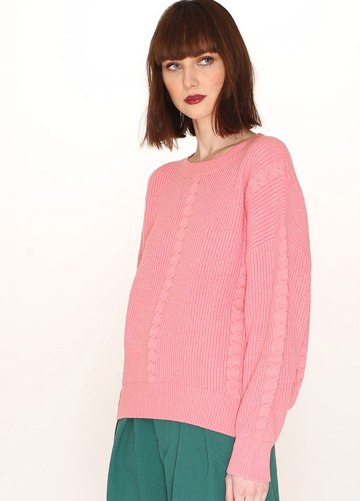 CABLES SWEATER PINK