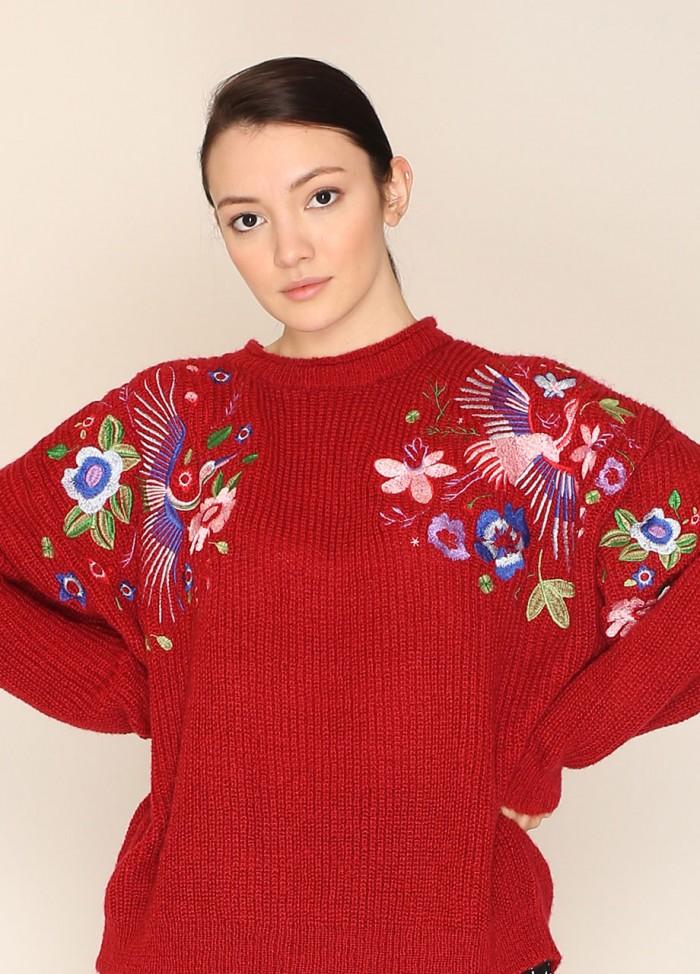 Jersey bordado floral rojo