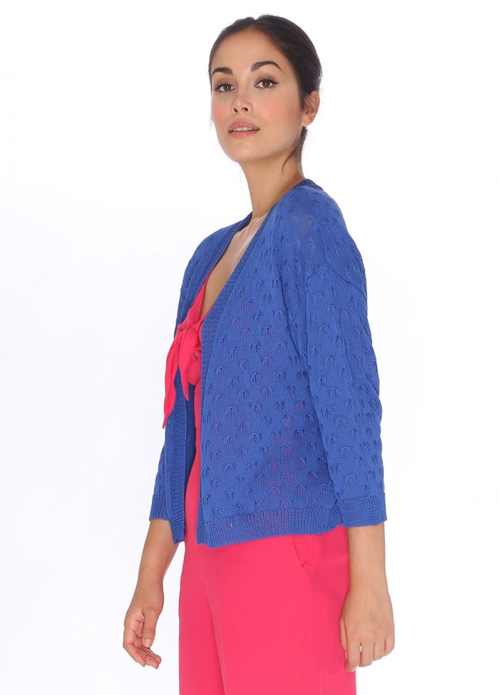 CARDIGAN POINTELLE BLUE