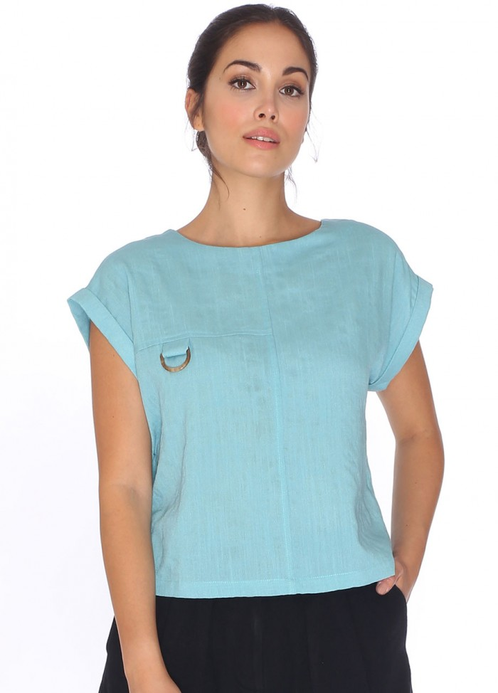 BUCKLE TOP TURQUOISE