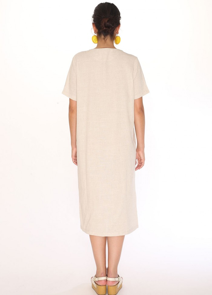 LINEN V-NECK DRESS CREAM