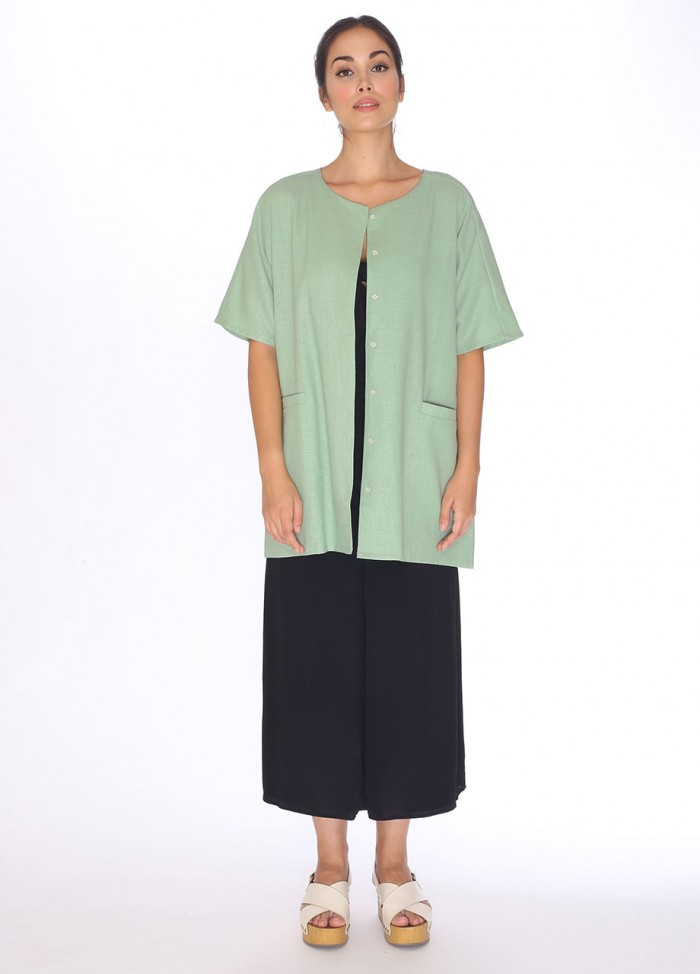LINEN TUNIC JACKET GREEN