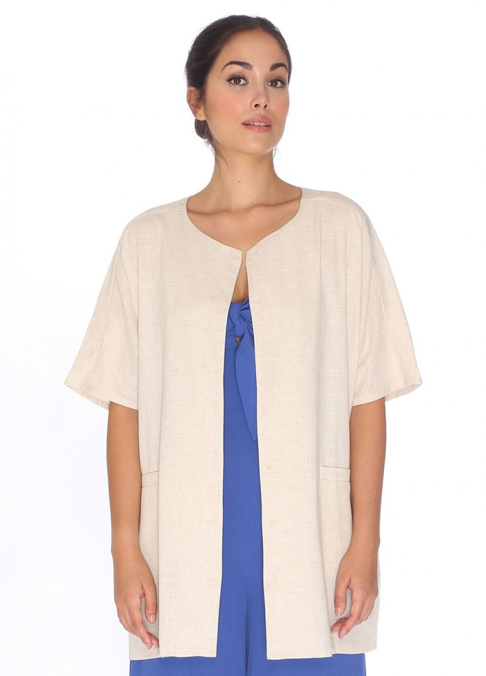 LINEN TUNIC JACKET CREAM