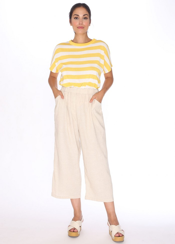 LINEN TROUSERS CREAM
