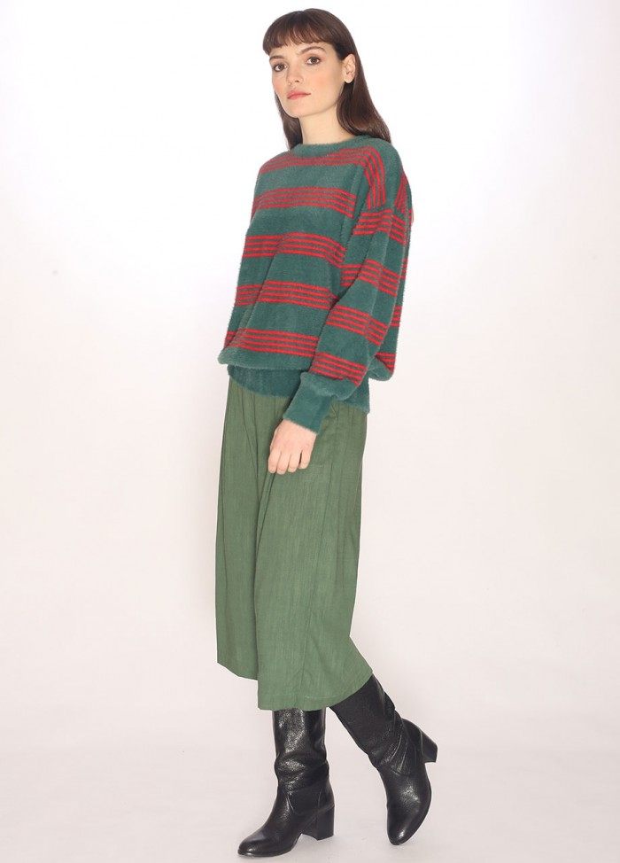 STRIPES SWEATER GREEN/RED